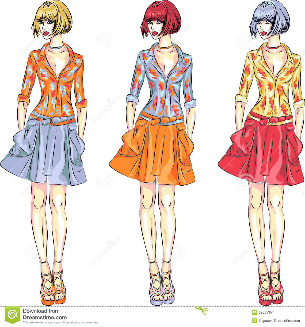 Vector Beautiful Fashion Girls Top Models Royalty Free Stock Photography Image 32055357