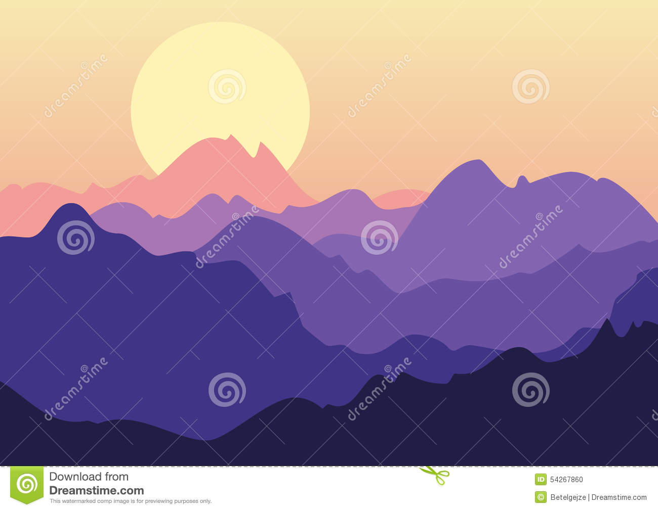 Vector Beautiful Landscape Purple Sunset In Mountains Nature B Stock Vector Illustration Of Relief Banner 54267860