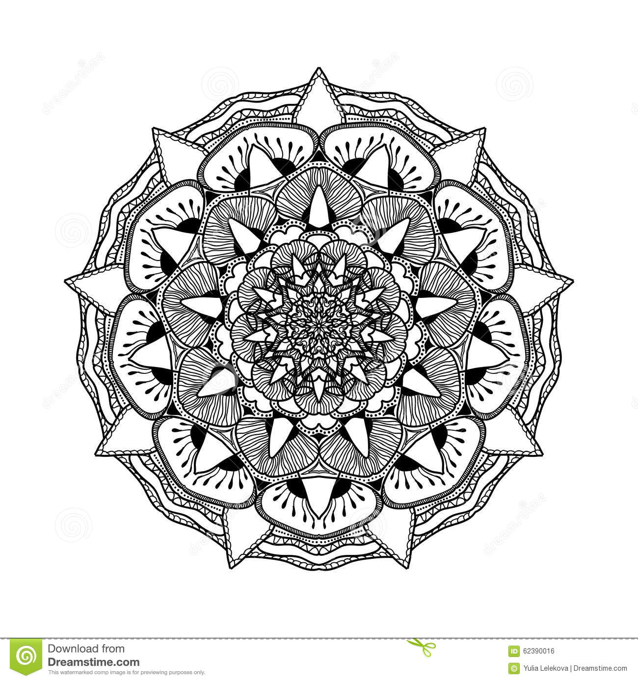 Vector Beautiful Mandala Black And White Pattern For