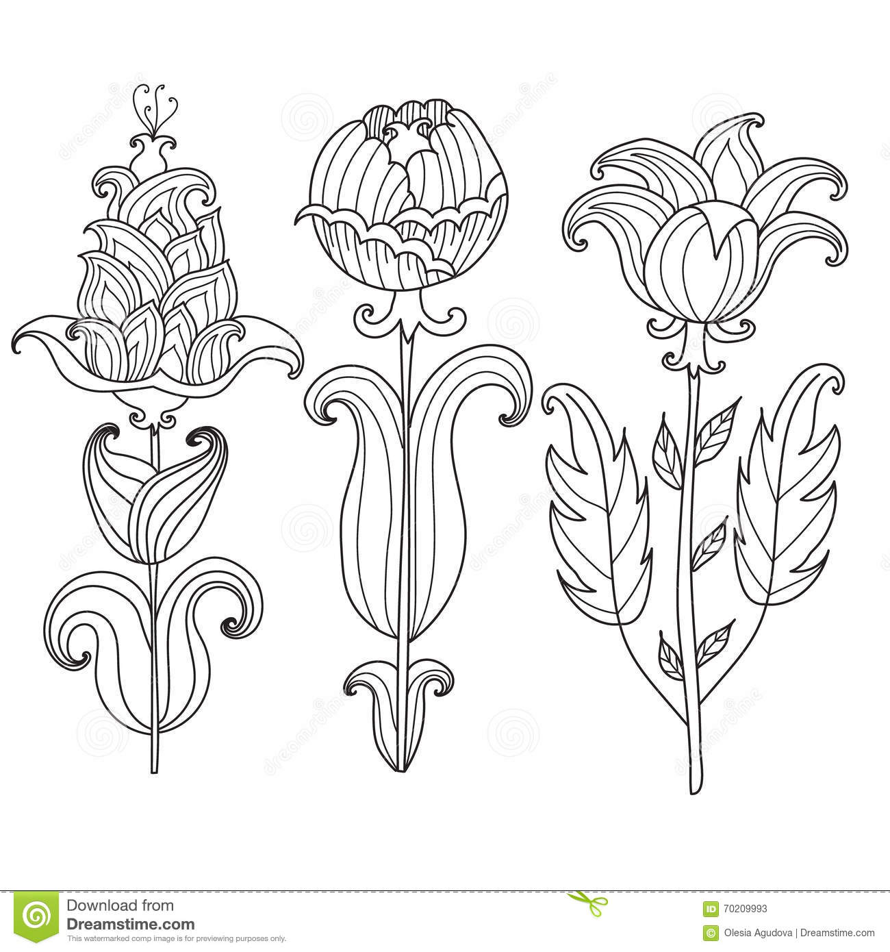 Vector Beautiful Monochrome Contour Flower, Floral Design ...