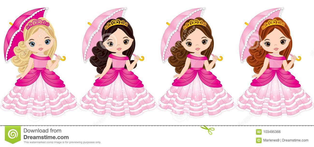 7 Inspiring Kid Room Color Options For Your Little Ones: Vector Beautiful Princesses With Various Hair Colors Stock