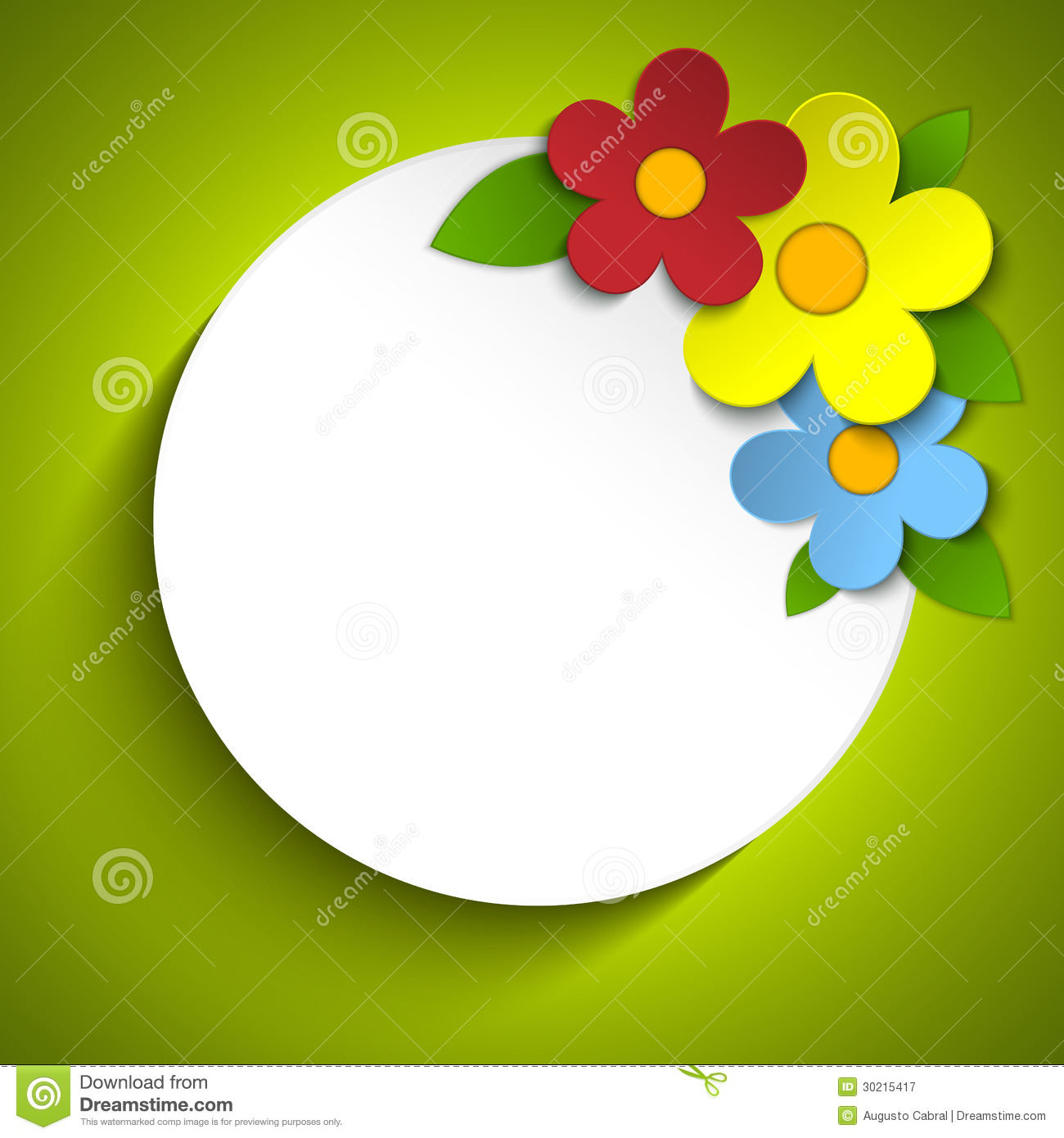Beautiful Spring Flowers Green Background Stock Vector