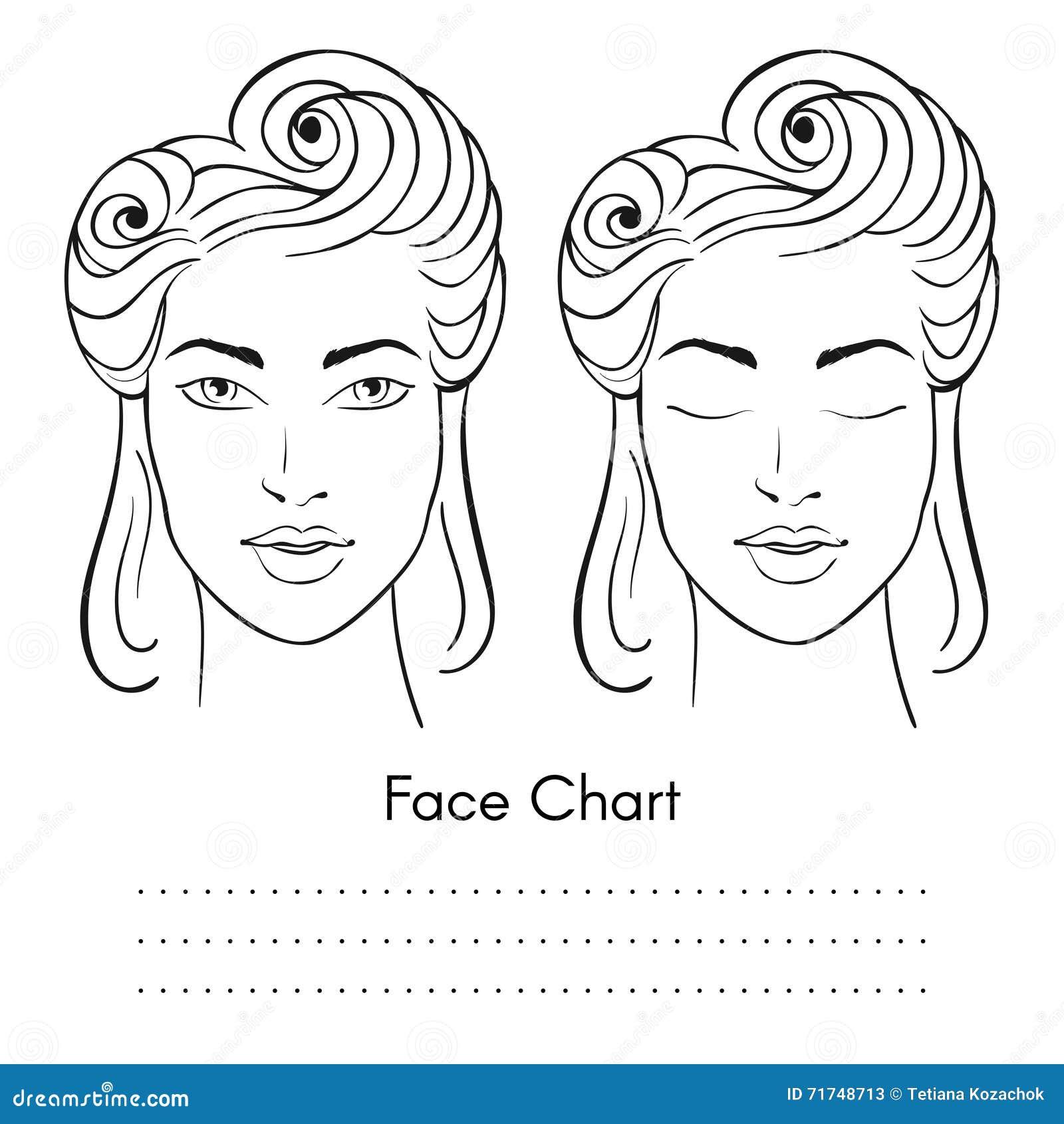 Vector Beautiful Woman Face Chart Portrait. Stock Vector ...