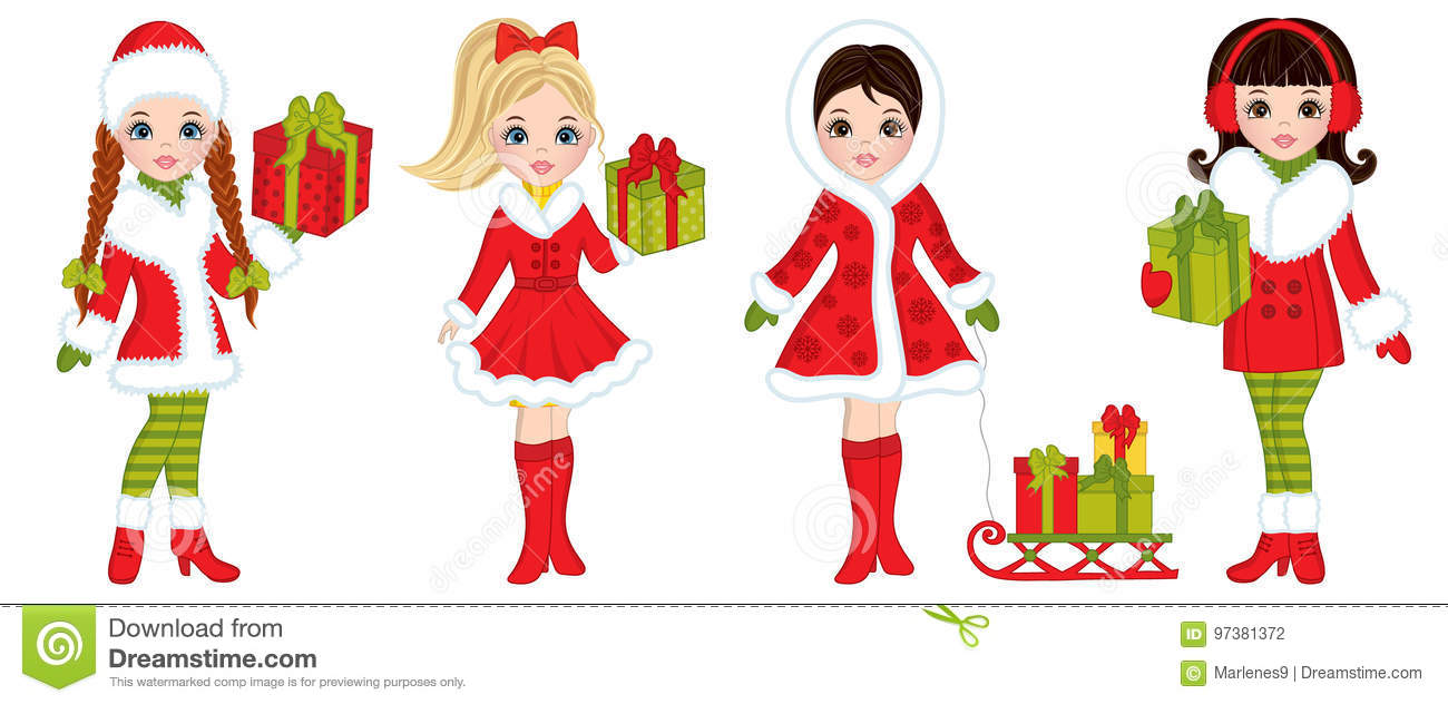Vector Beautiful Young Girls With Christmas Gifts Stock Vector ...
