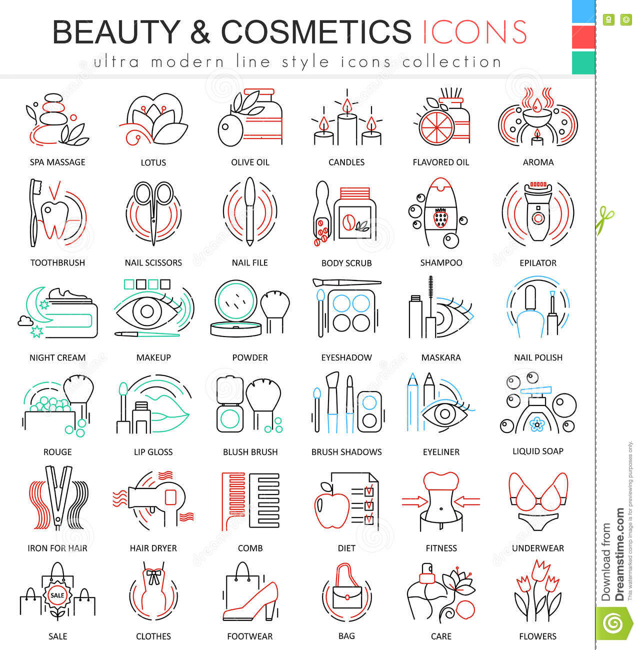 Modern colors web design - Vector Beauty And Cosmetics Ultra Modern Color Outline Line Icons For Apps And Web Design