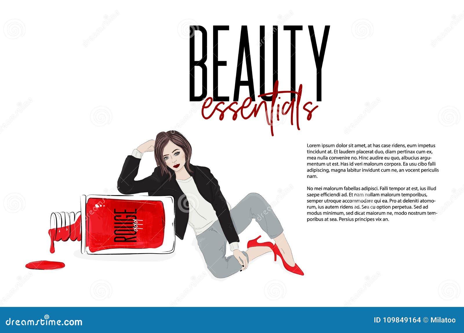 Vector beauty illustration: fashion girl sitting near nail polish bottle. Beuatiful woman in red high heels