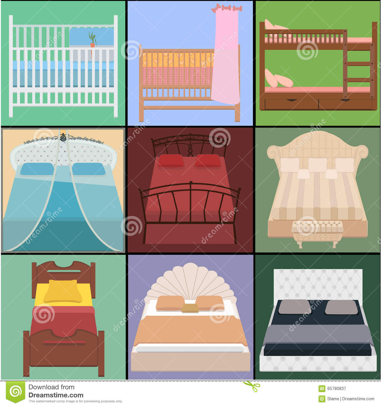 Vector bed set collection different types of beds vector for Different type of beds