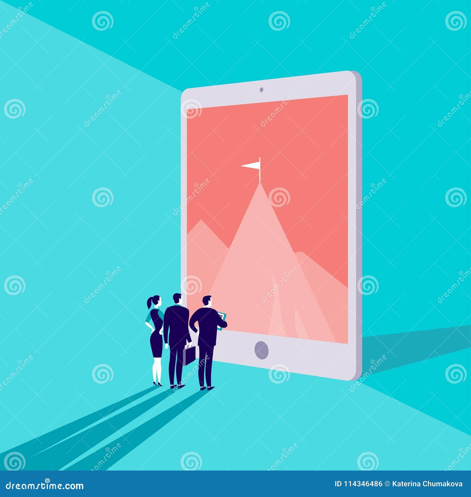 Vector bedrijfsconceptenillustratie met bedrijfsmensen die op bergpiek letten op op het grote tabletscherm op blauwe achtergrond
