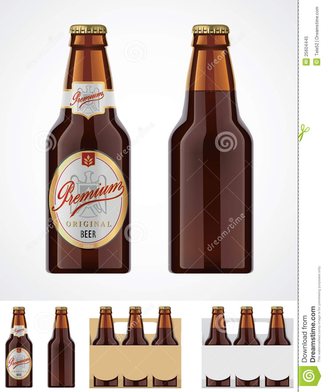 Detailed brown glass beer bottle. Can be used as template for labels.