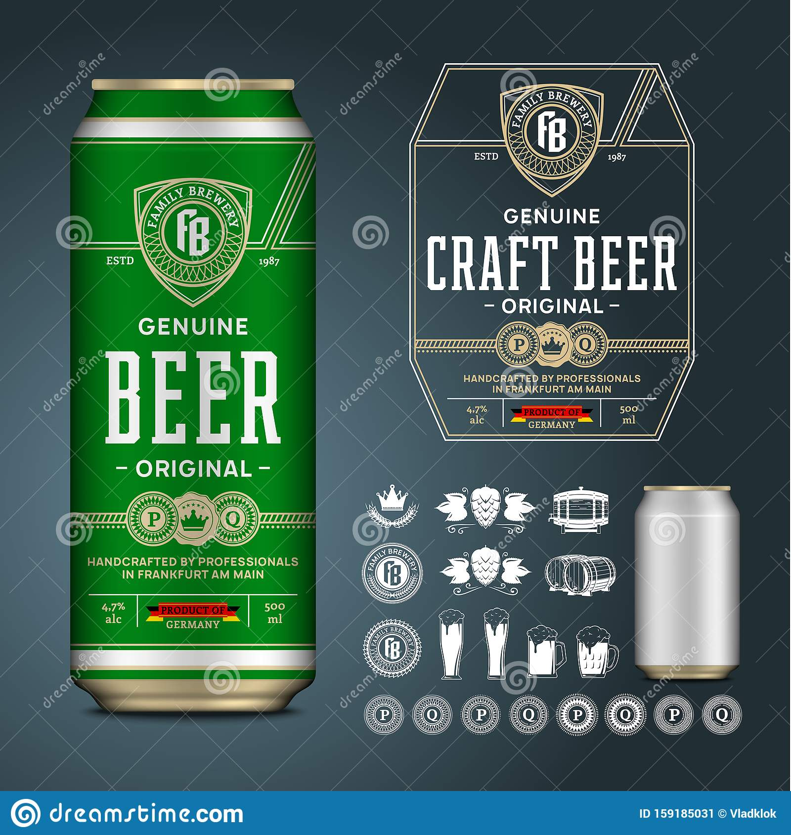 Vector Beer Label Aluminium Can Mockup Beer Icons Badges
