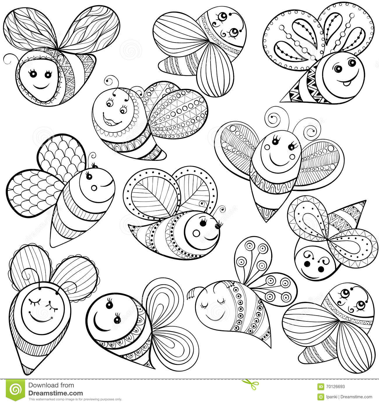 Vector Bees For Adult Coloring Page Hand Drawn Funny Magic Bee