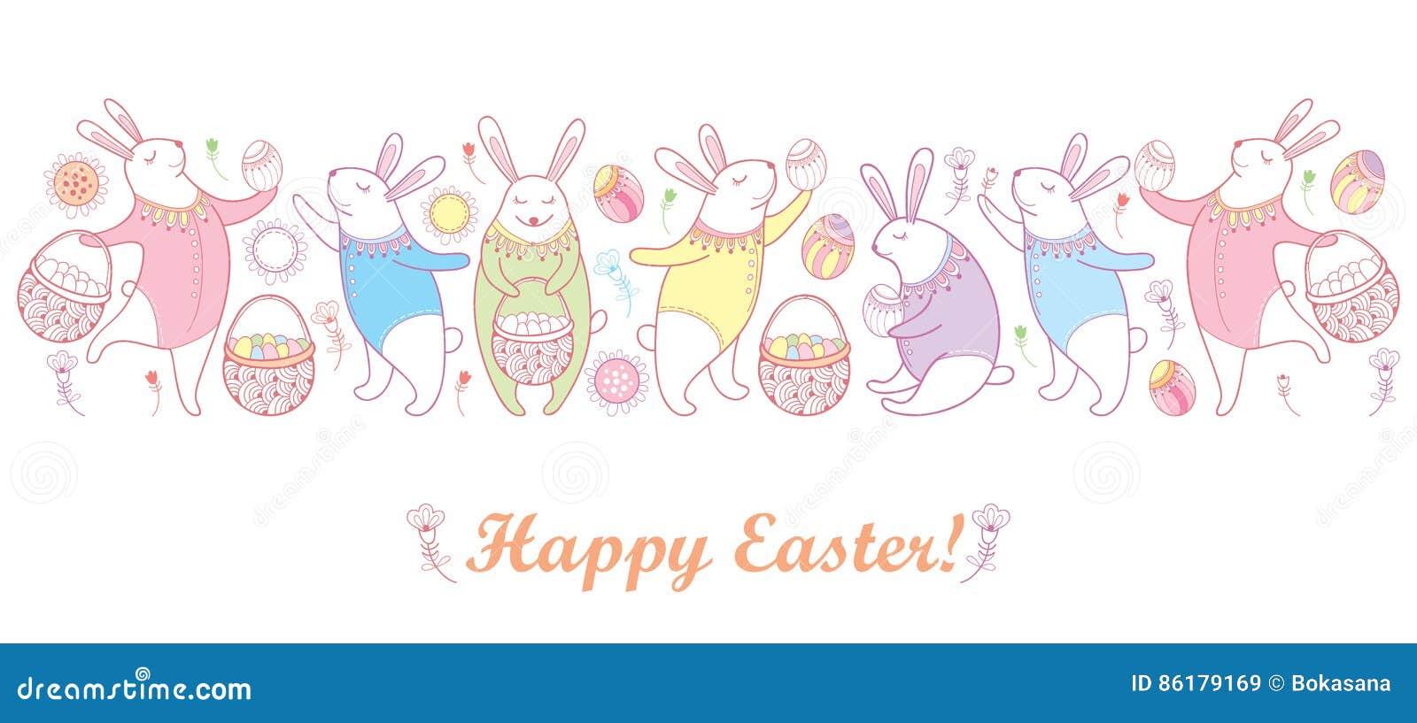Vector a beira feliz da Páscoa com o coelho, o ovo e a cesta de easter do esboço nas cores pastel isolados no fundo branco