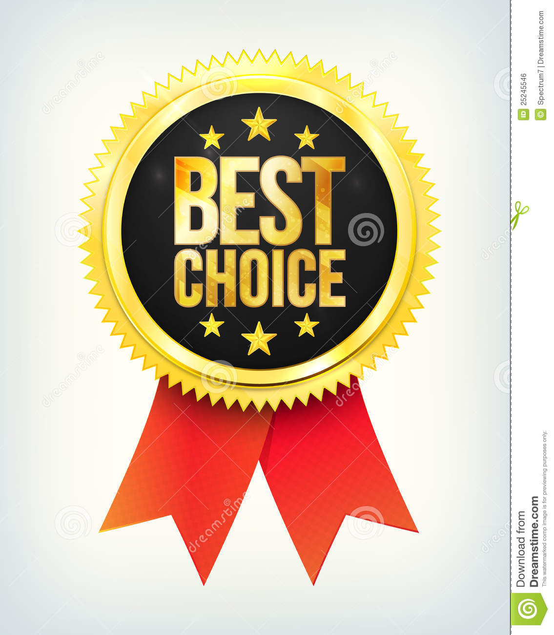 Vector Best Choice Golden Label With Ribbons Stock Vector