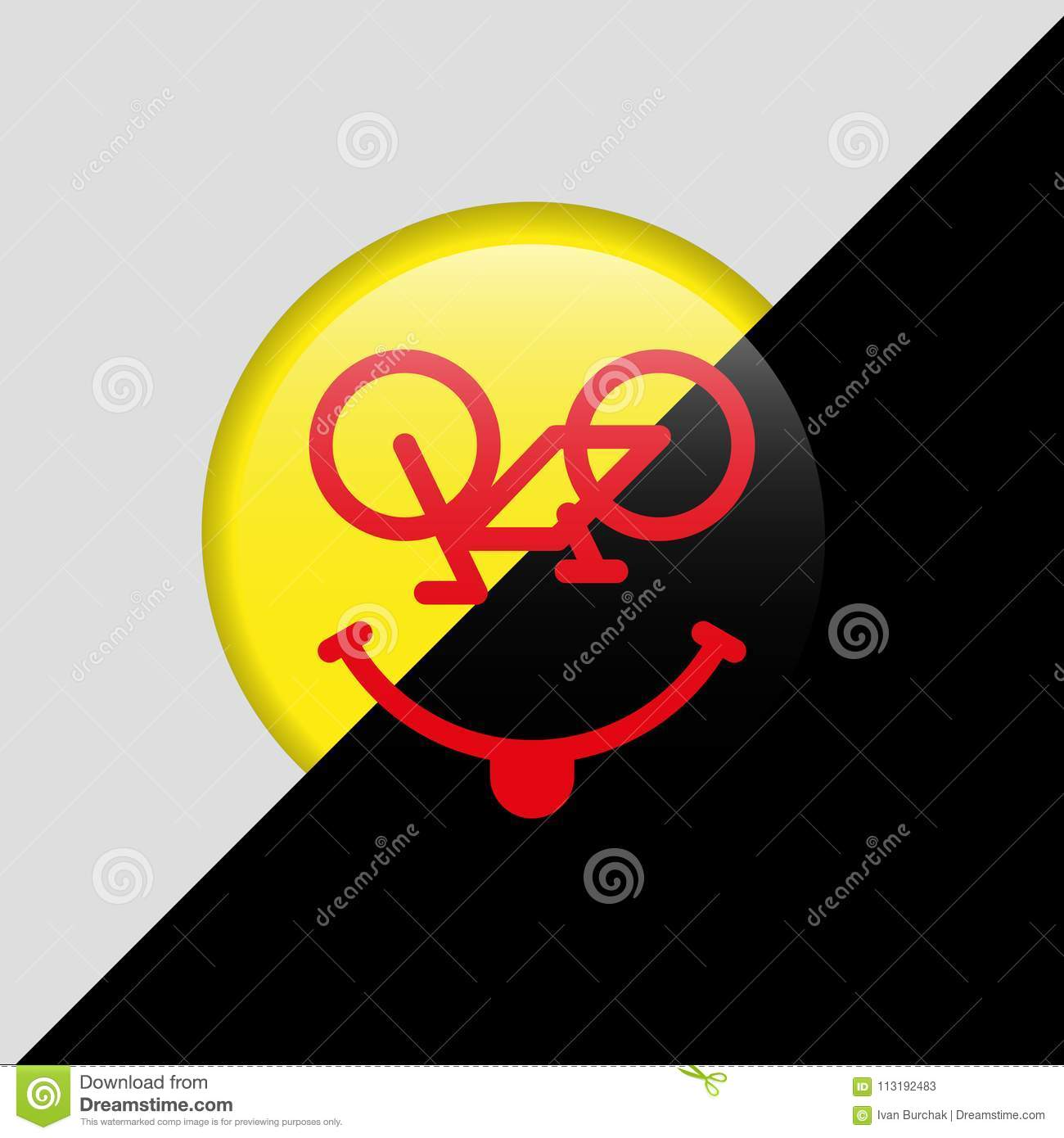 Vector Bicycle Emoji. Bike Smile, Emoticon or Smiling Face. 3D Yellow Badge and Black Backround. I Love Cycling Concept