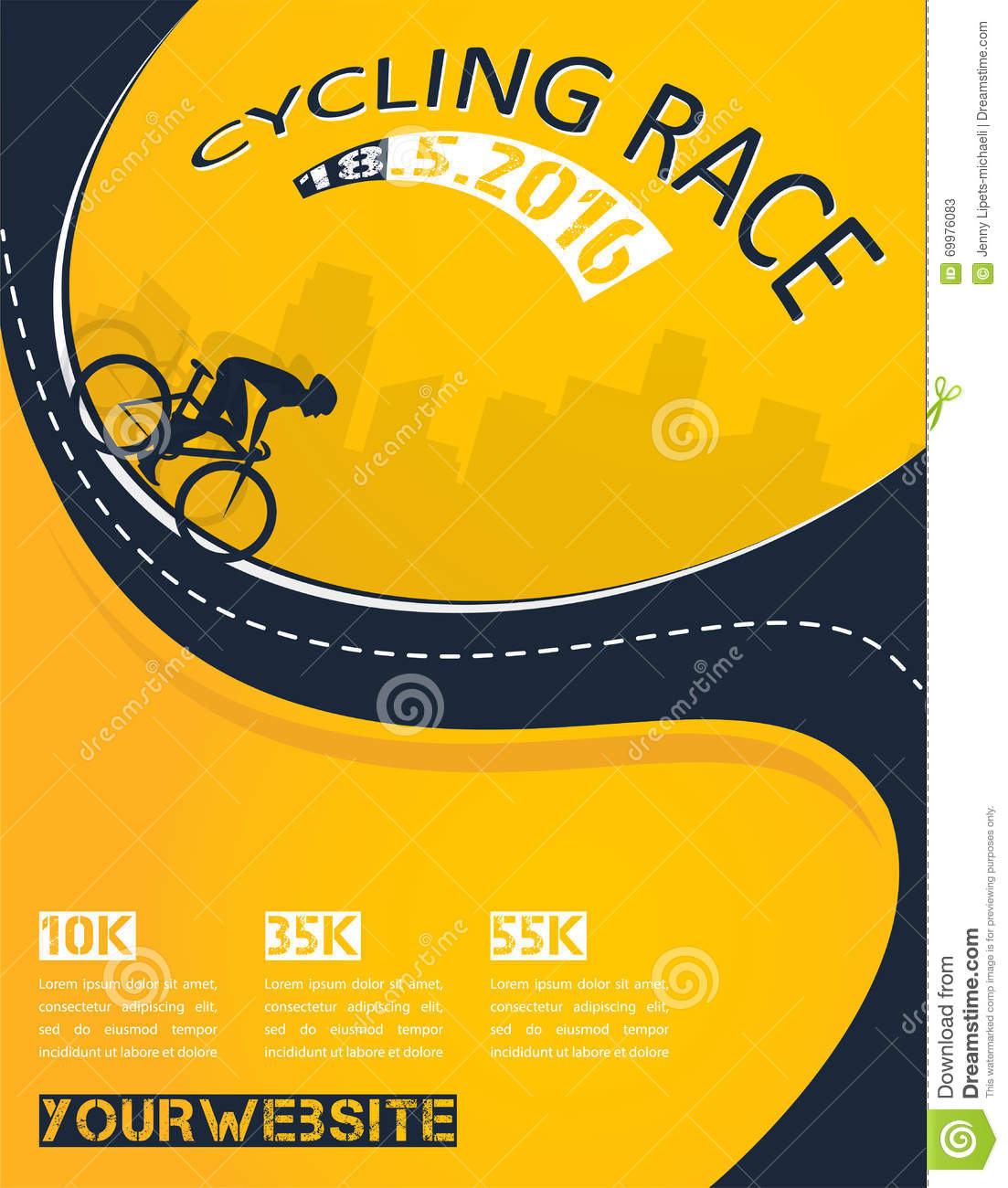 Poster design vector download - Vector Bicycle Race Event Poster Design Stock Vector
