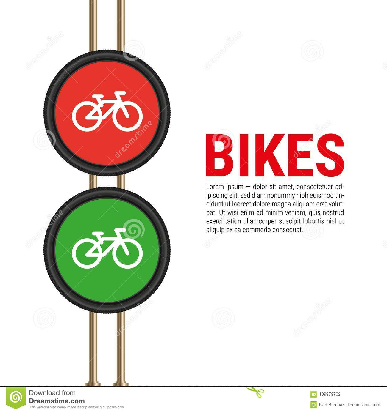 vector bicycle traffic lights template for advertising banner with