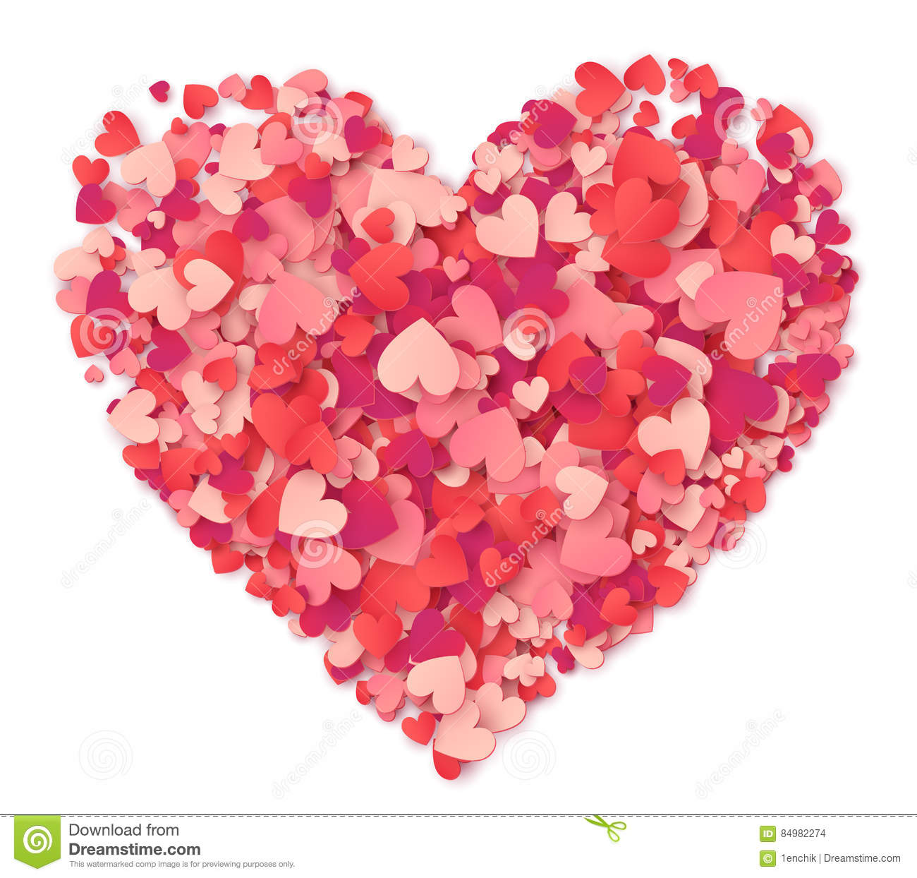 vector big heart made from hearts shapes pink and red confetti on