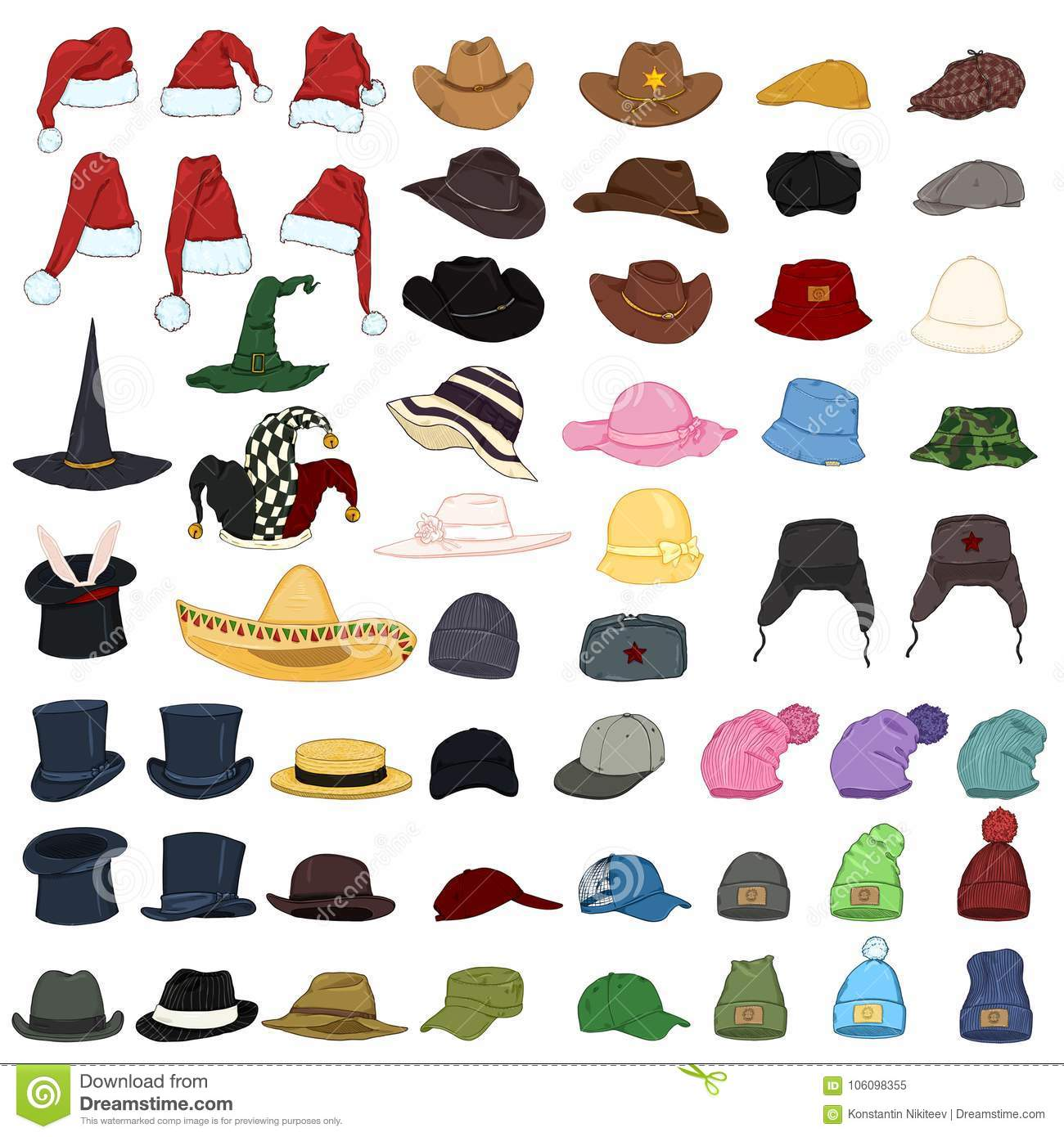 c8db41402e8 Vector Big Set Of Cartoon Hats And Caps. 57 Headwear Items. Stock ...