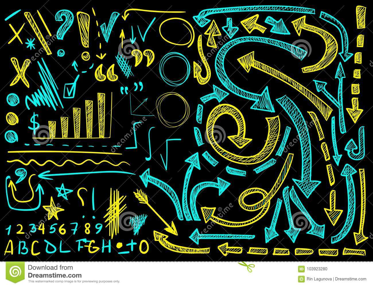 VECTOR big set of hand-sketched icons. Elements for presentation. Cian and yellow colors on black background, chalk