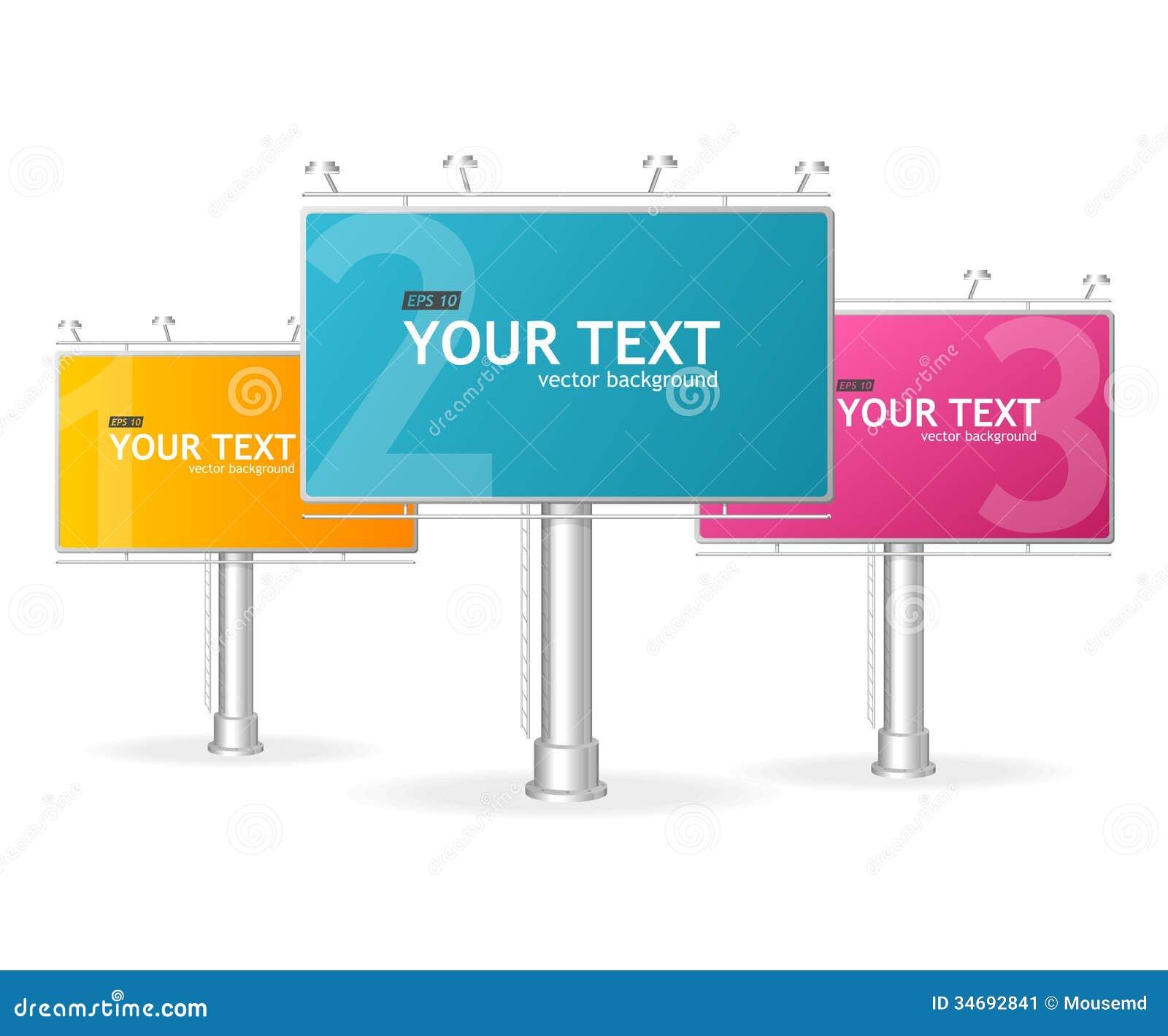 Vector Billboards Screen Template For Text Stock Vector