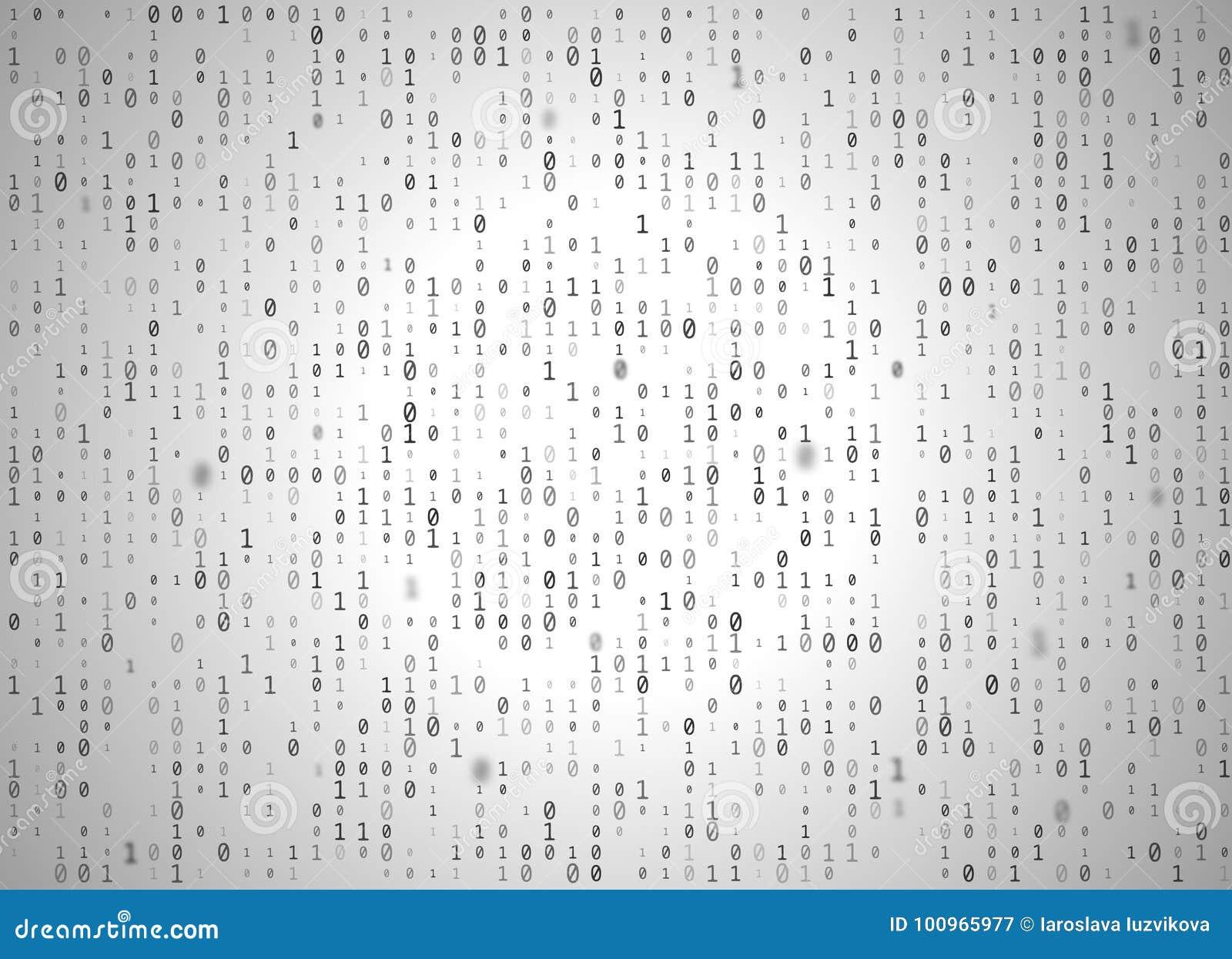 Vector Binary Code White Background  Big Data And