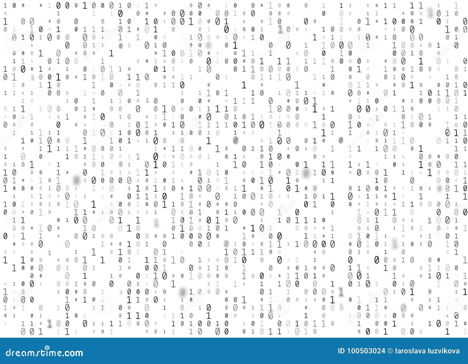 Vector Binary Code White Seamless Background  Big Data And