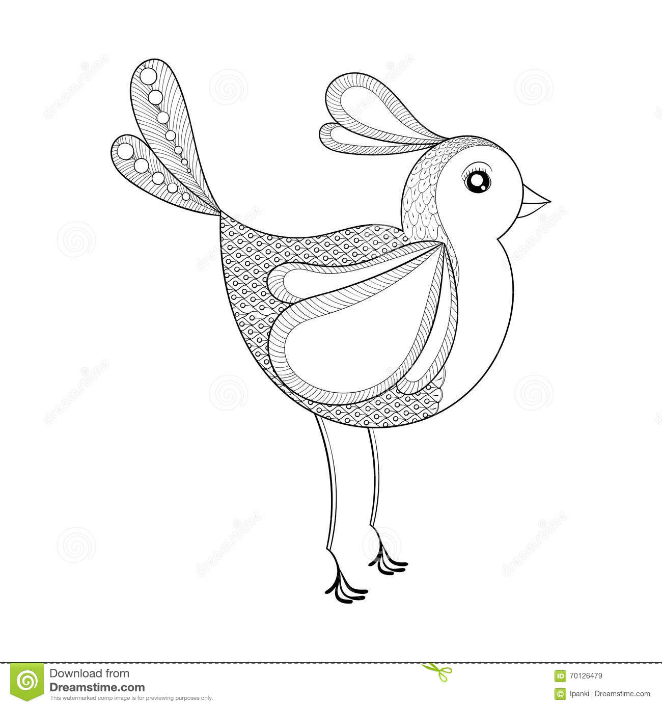 Vector Bird Coloring Page With Zentangled Hand Drawn Patt Stock Image 70126479