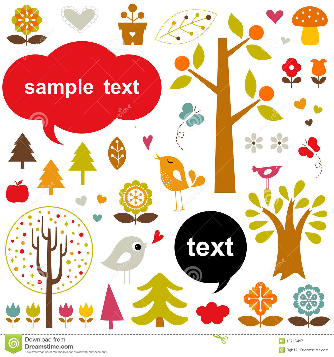 Vector birds and trees set