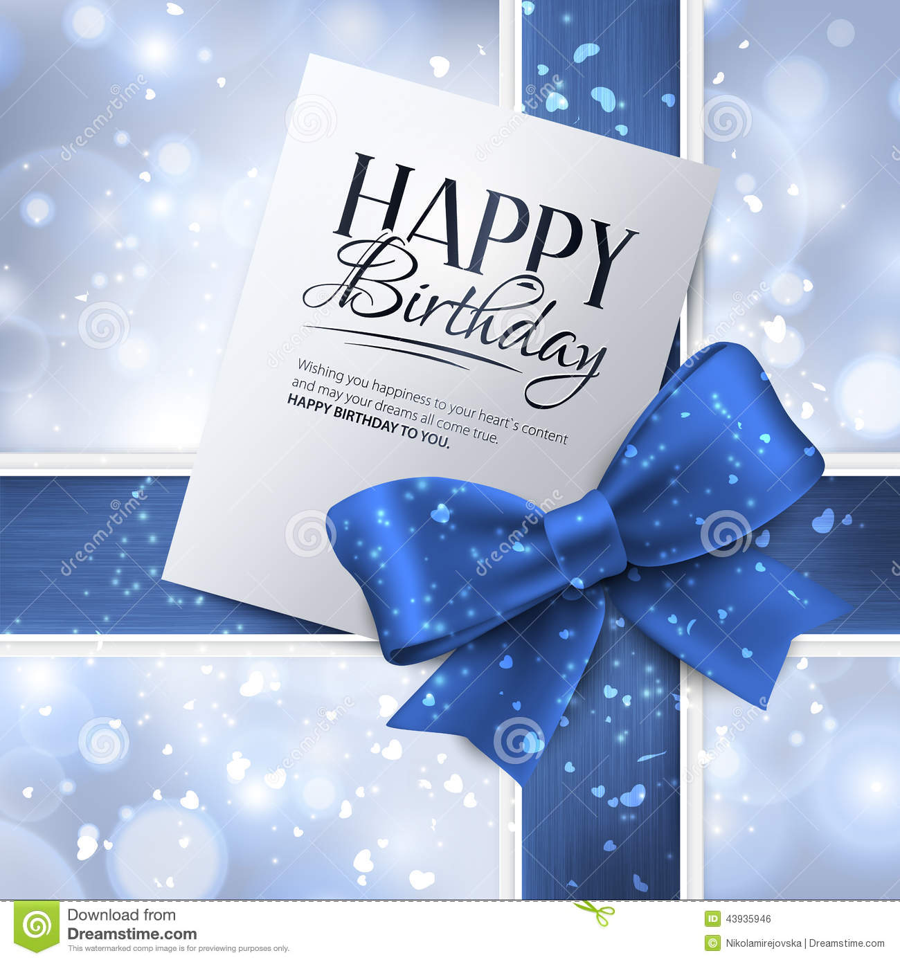 Vector Birthday Card With Blue Ribbon And Birthday Vector – Blue Birthday Cards