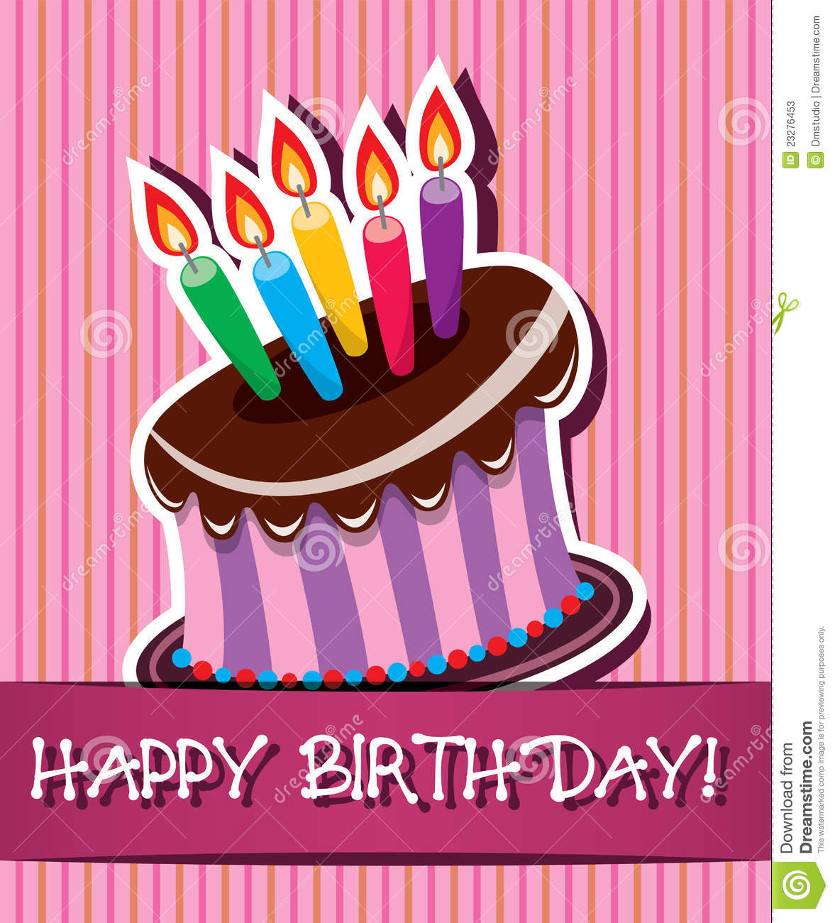 Cake Images Card : Vector Birthday Card With Cake And Candles Stock Photos ...