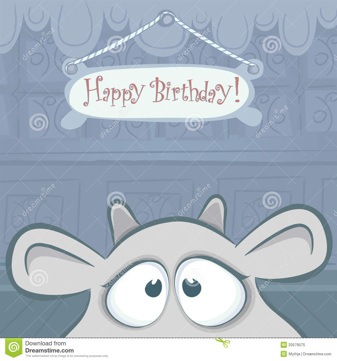 Vector Birthday Card With Funny Cow Stock Vector Illustration Of