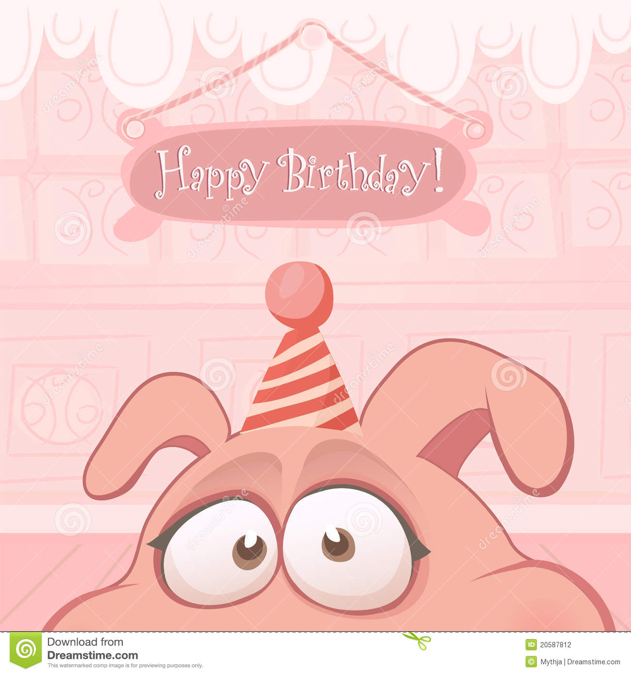 vector birthday card with funny pig stock photo  image, Birthday card