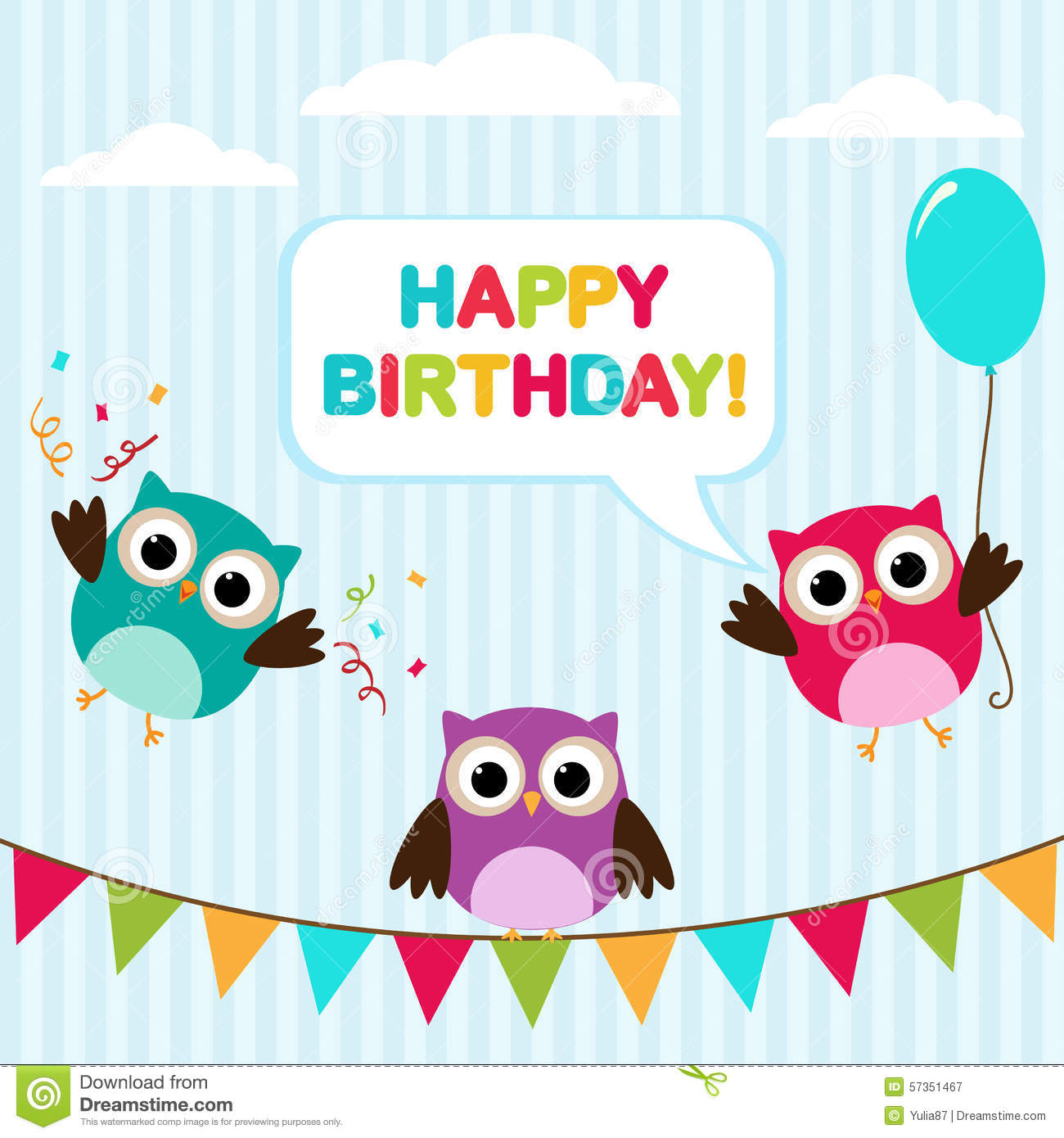 vector birthday card with owls stock vector  image, Birthday card