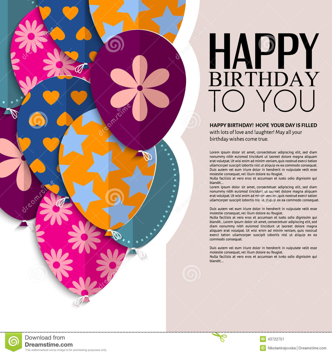 Vector birthday card with paper balloons and text stock vector vector birthday card with paper balloons and text celebrate copy bookmarktalkfo Image collections