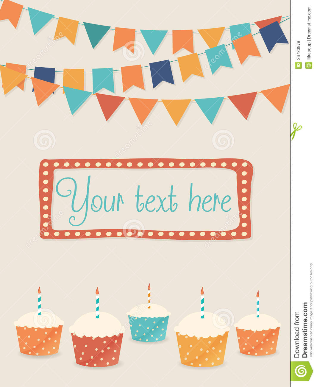 Vector Birthday Card With Party Flags And Cupcakes Royalty Free Stock ...