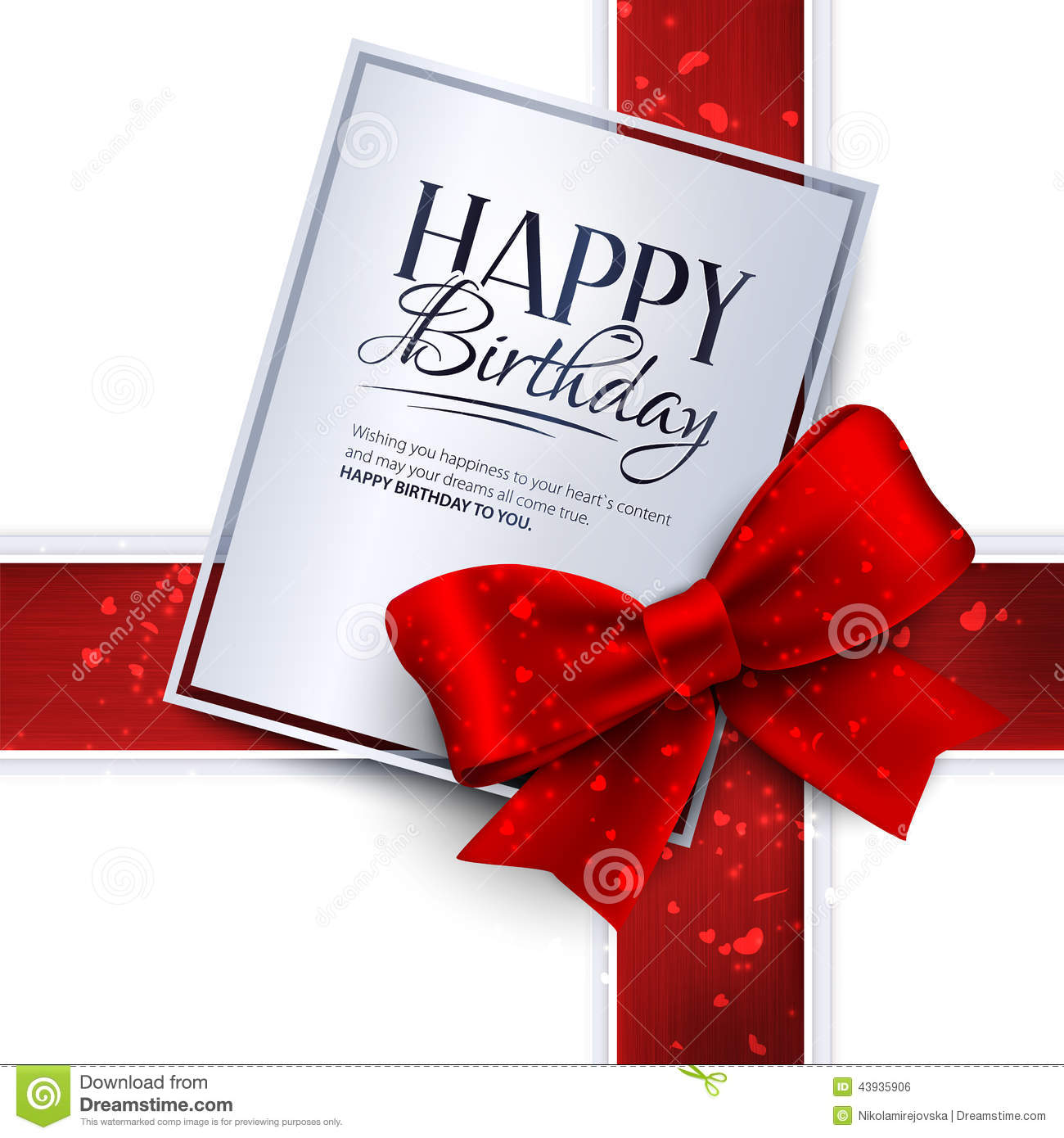 Vector Birthday Card With Red Ribbon And Birthday Vector – Vector Birthday Cards