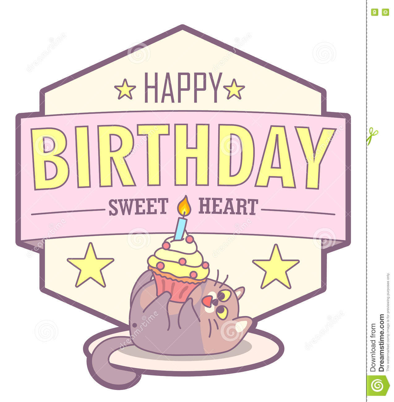 Vector Birthday Greeting Card With Fat Cat And Cake Pale Pastel