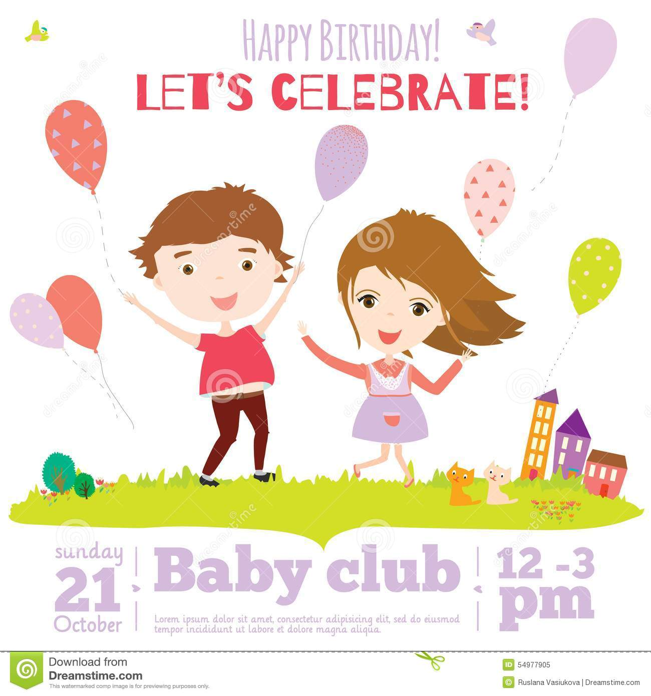 Vector Birthday Invitation Card On Baby Party With Stock Vector ...