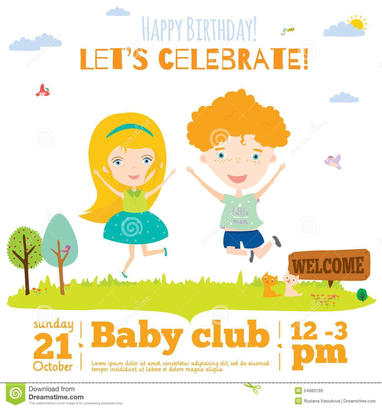 Vector Birthday Invitation Card On Baby Party With Vector – Spring or Summer Theme Invitation Cards