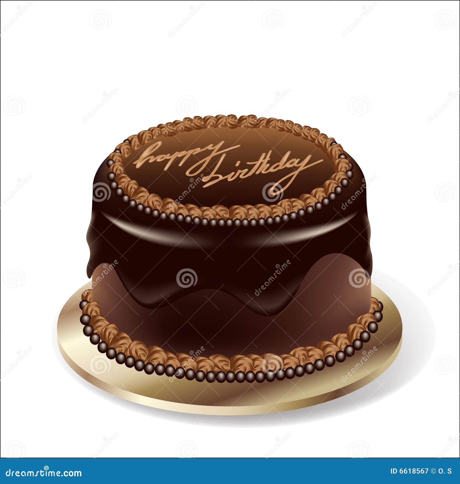 Vector Birthday Party Chocolate Cake Stock Vector - Image ...