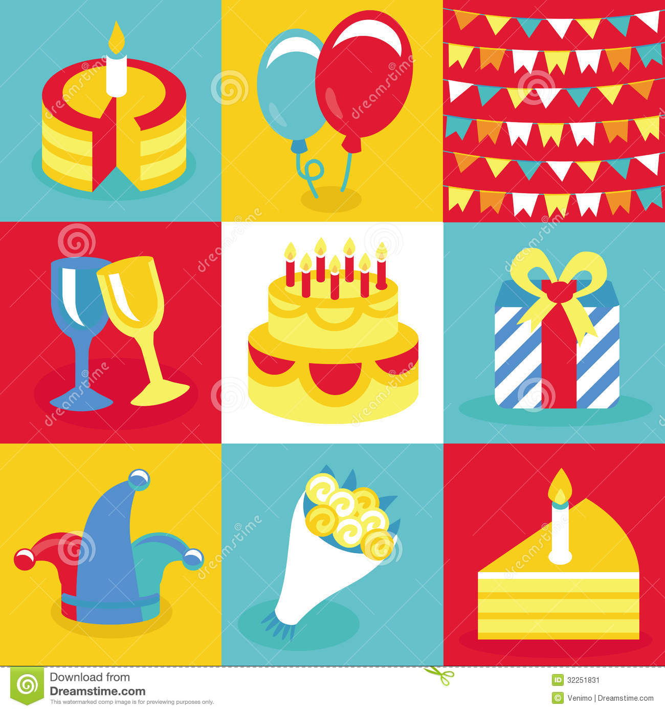 Retro happy birthday vector happy birthday vintage card with - Vector Birthday And Party Icons And Signs Stock Image