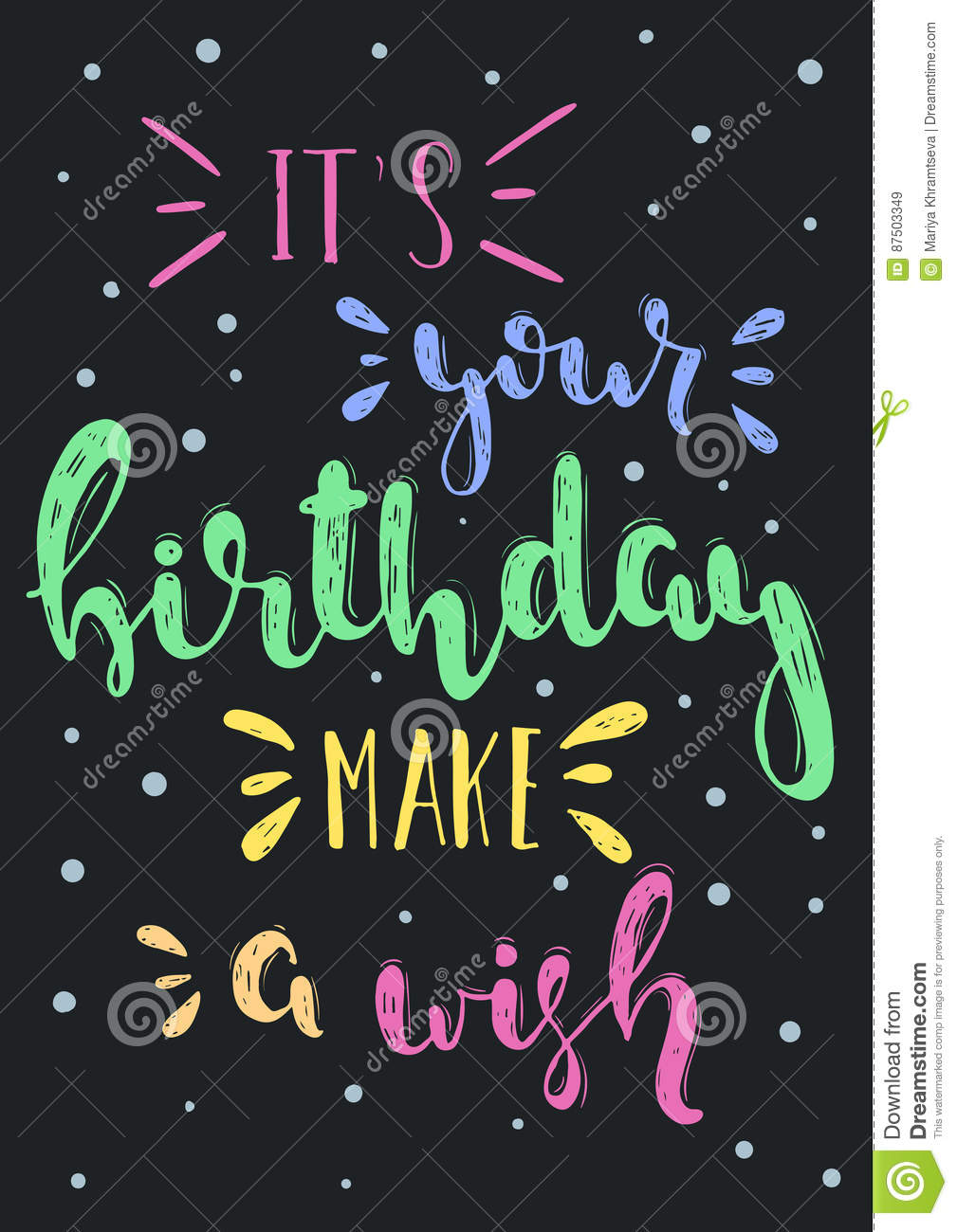 Vector birthday wish stock vector. Illustration of isolated   87503349