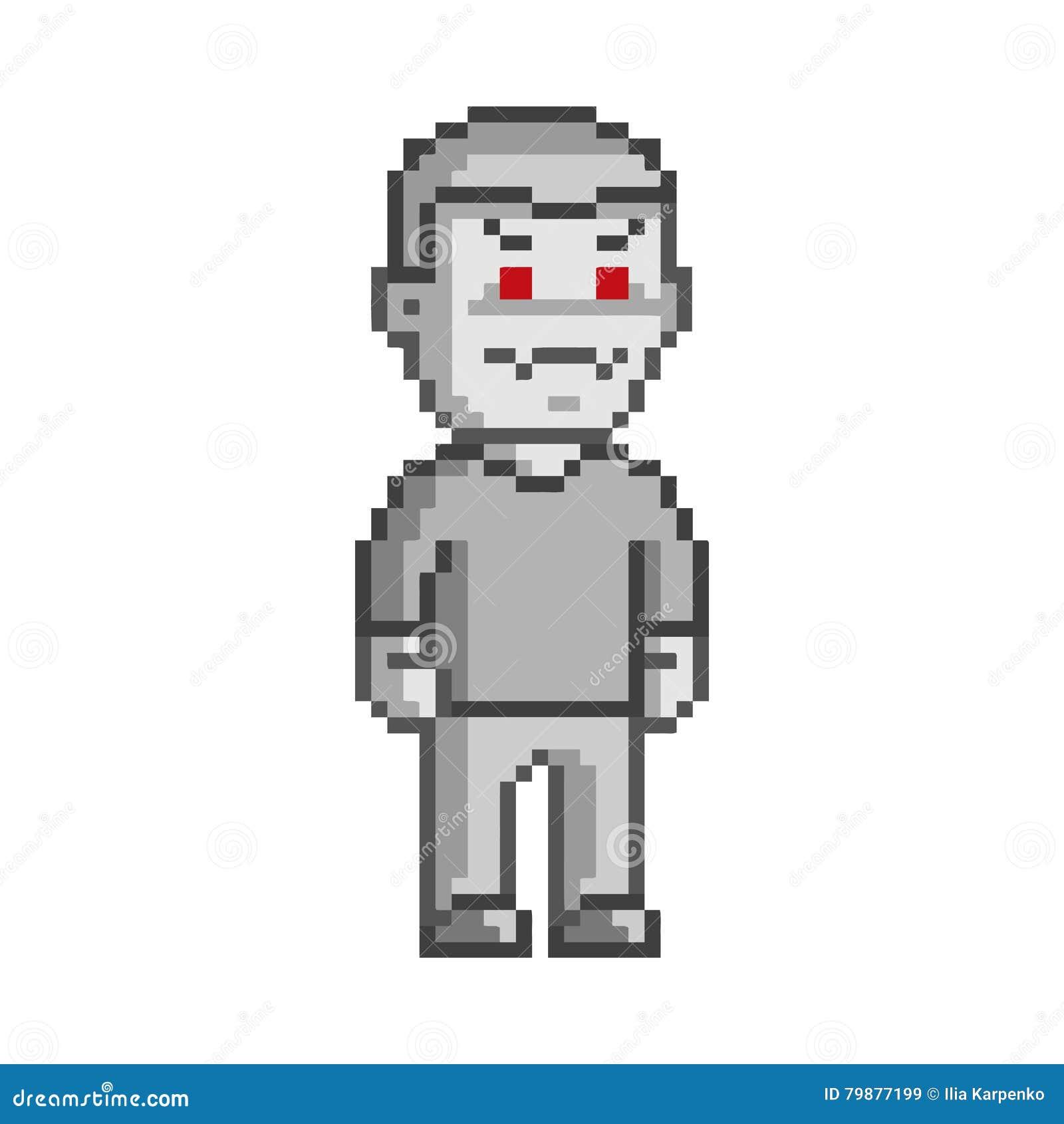 Vector 8 Bit Pixel Art Vampire Stock Illustration