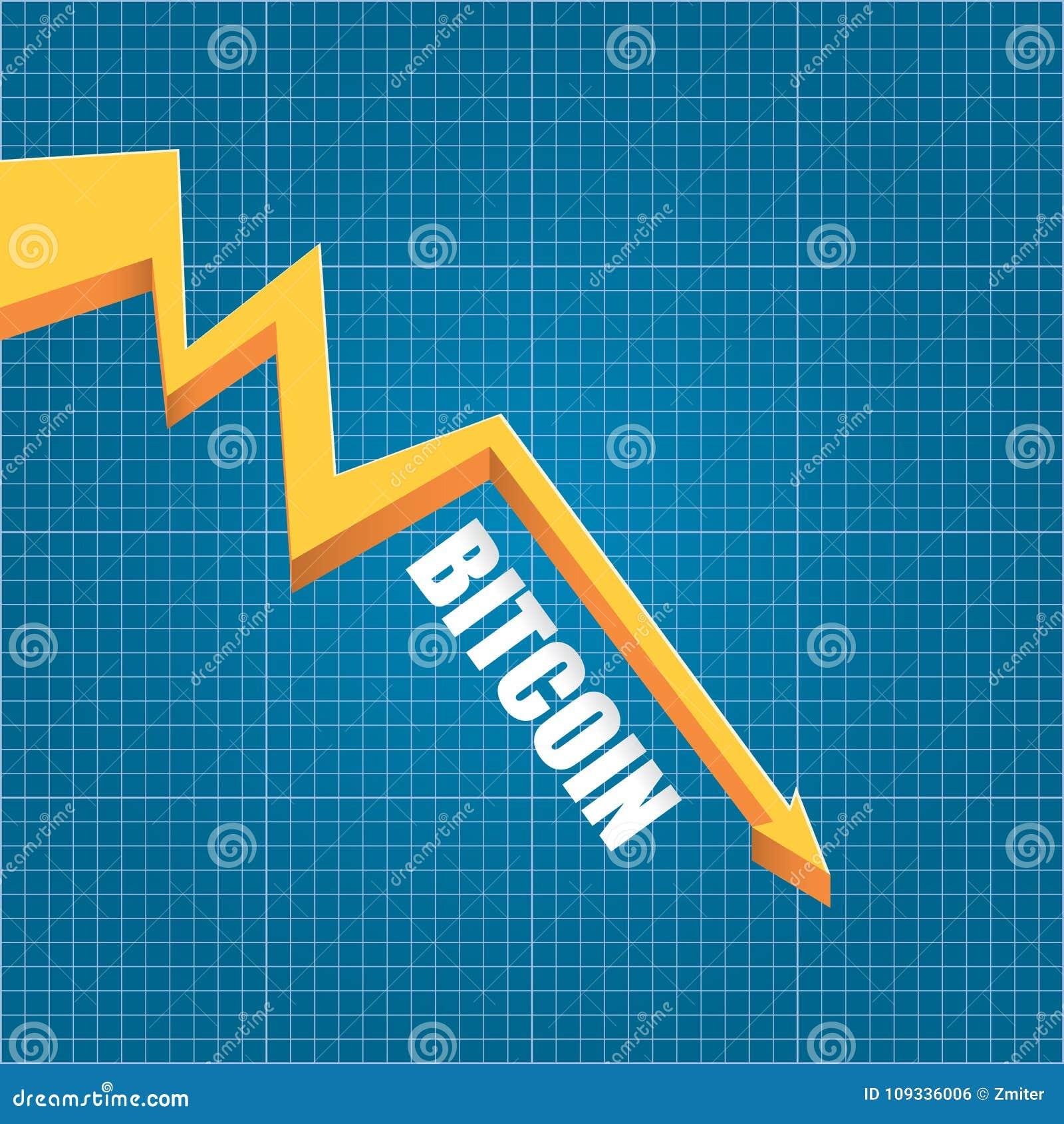 Download Vector Bitcoin Market Crash Graph On Blueprint Background. Bitcoin  Hype Concept Vector Illusrtation With