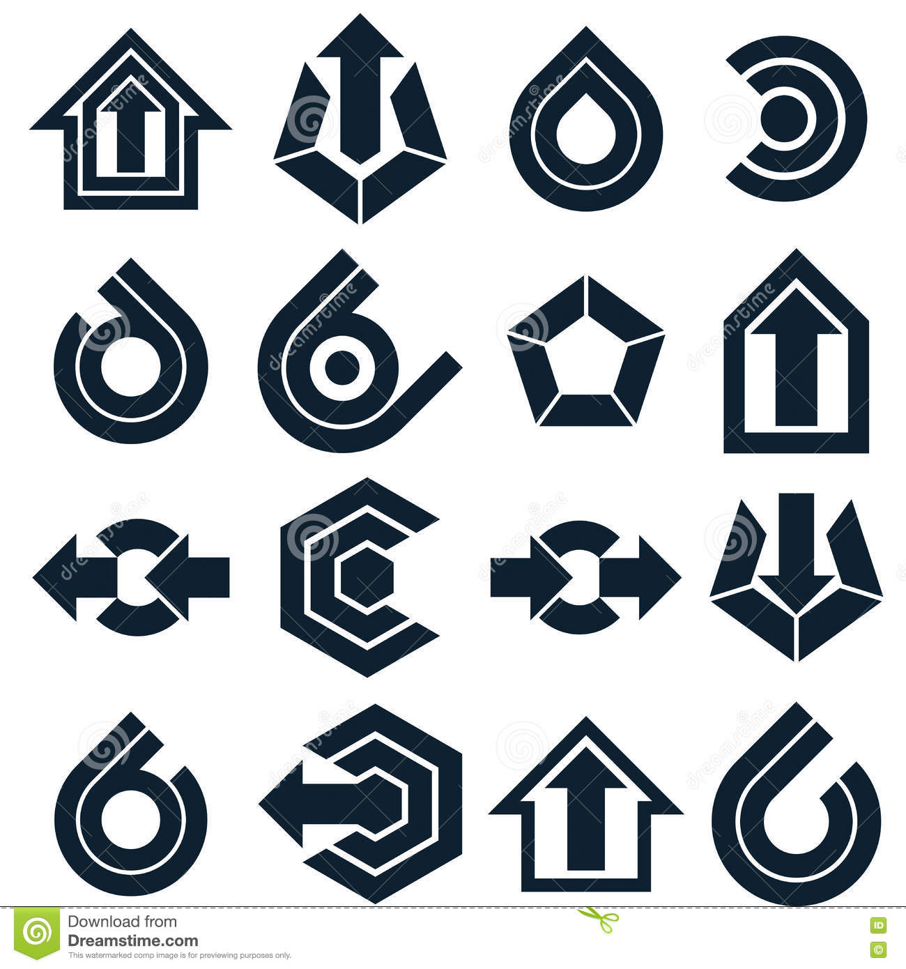 Vector Black Abstract Icons Set Simple Corporate Graphic