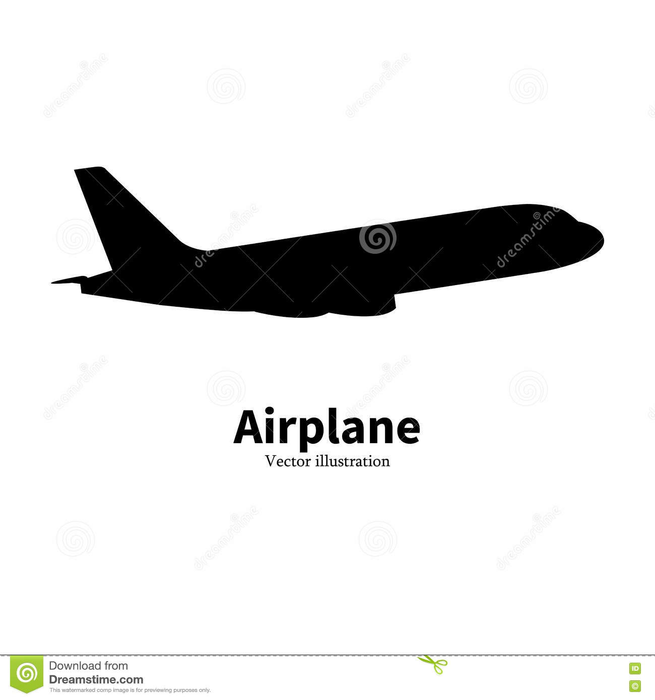 Vector black airplane silhouette air travel