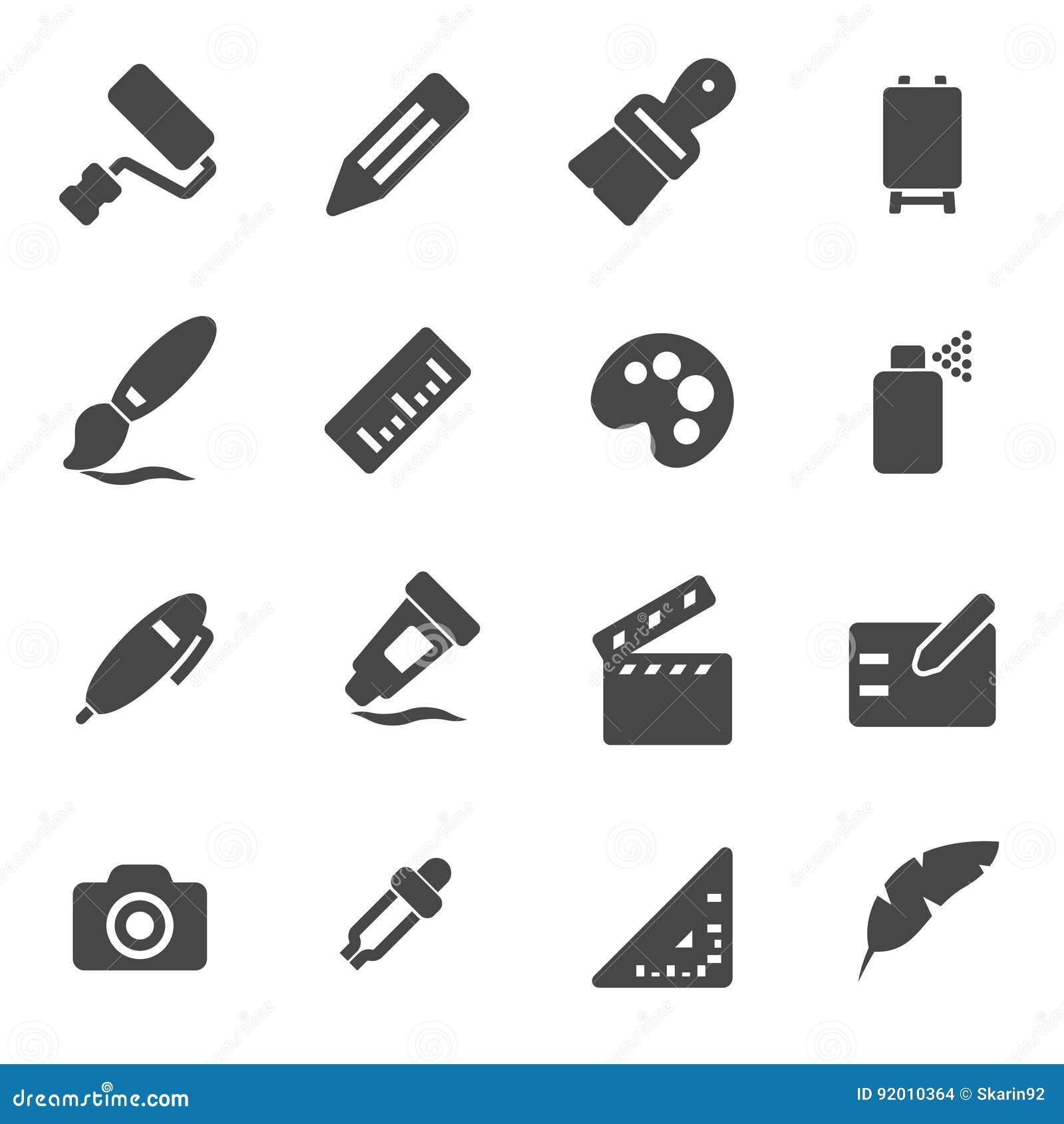 Vector Black Art Tools Icons Set Stock Illustration