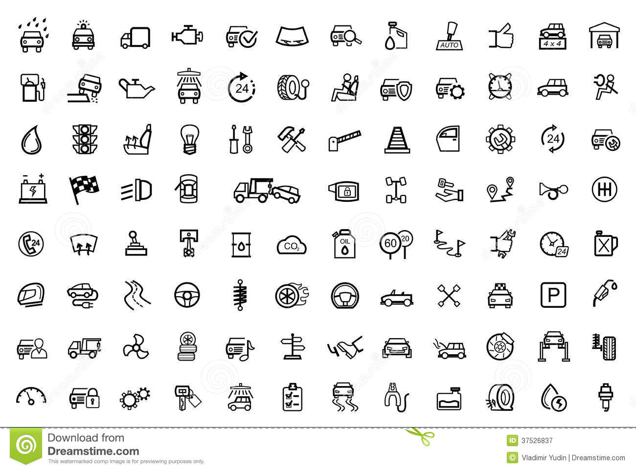 Vector Black Auto Icons Set on Nissan Sentra 1 6 Engine Diagram