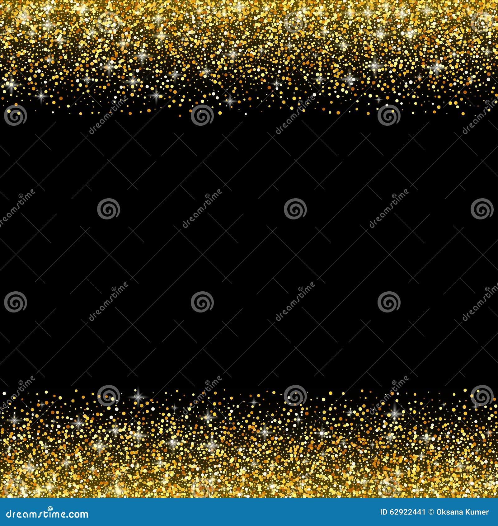 vector black background with gold glitter sparkle illustration
