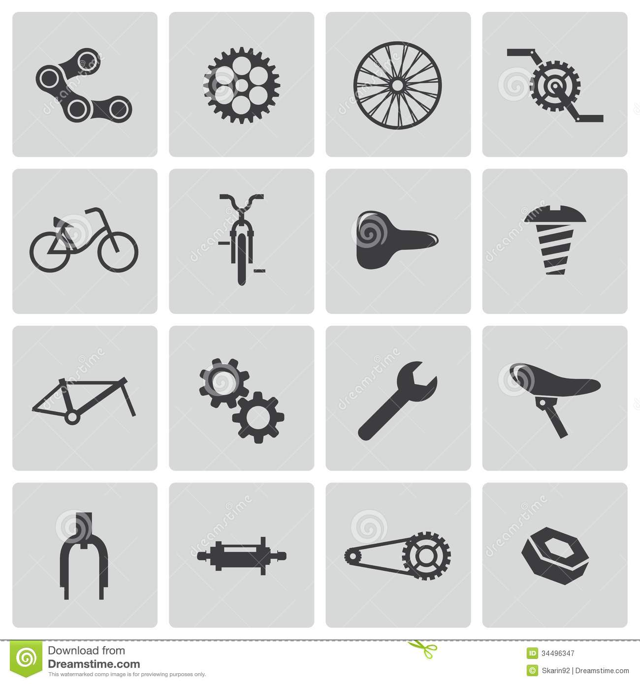 Vector Black Bicycle Part Icons Stock Illustration Illustration Of